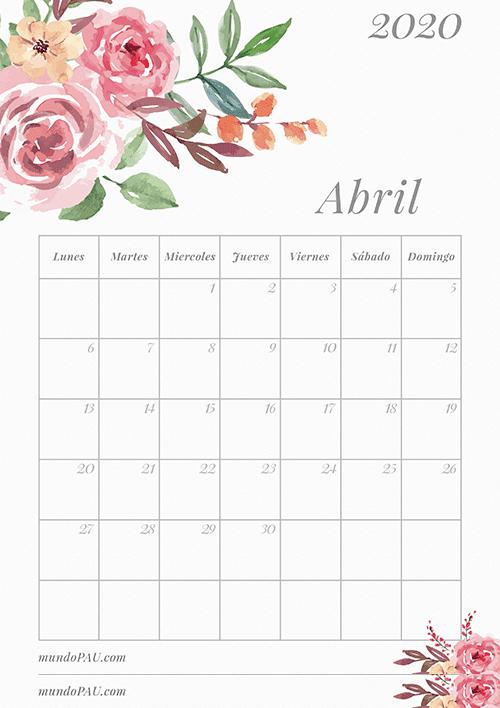 Calendario de Abril 2020 para Imprimir