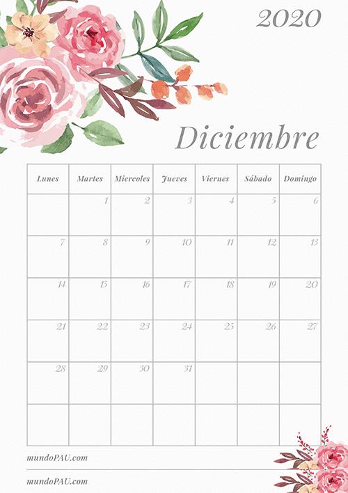 Calendario de diciembre 2020 para Imprimir