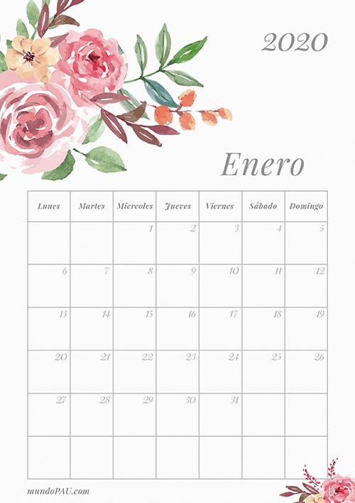 Calendario de Enero 2020 para Imprimir