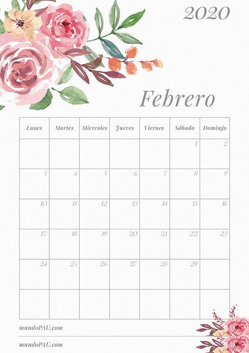 Calendario de Febrero 2020 para Imprimir