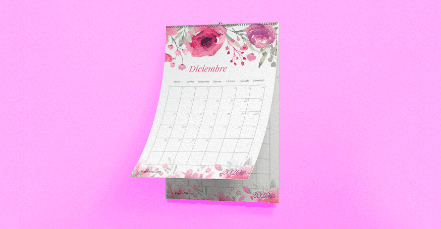 Calendario mensual 2020 imprimible