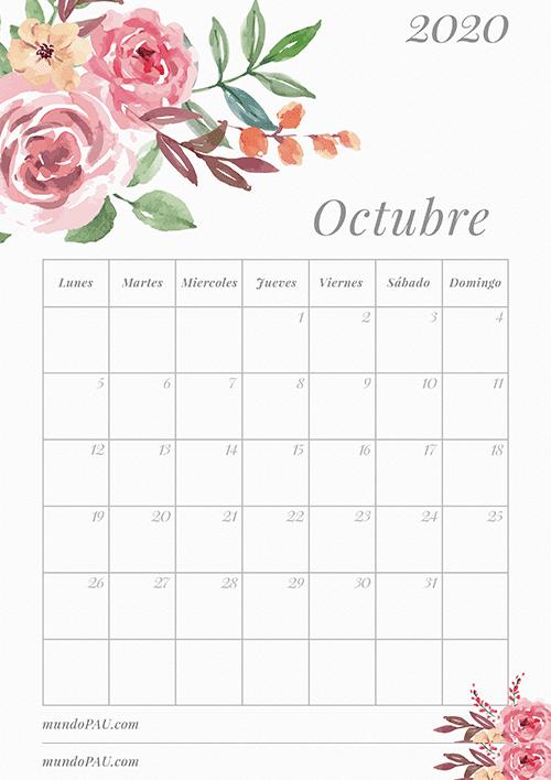 Calendario de Octubre 2020 para Imprimir