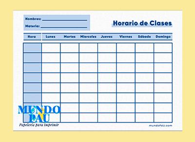 horario azul de clases