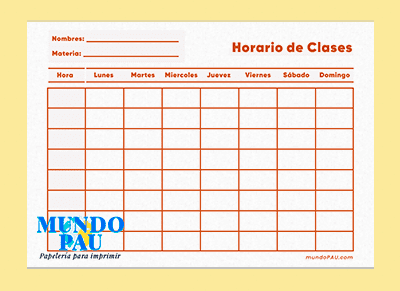 Horario color naranja gratis