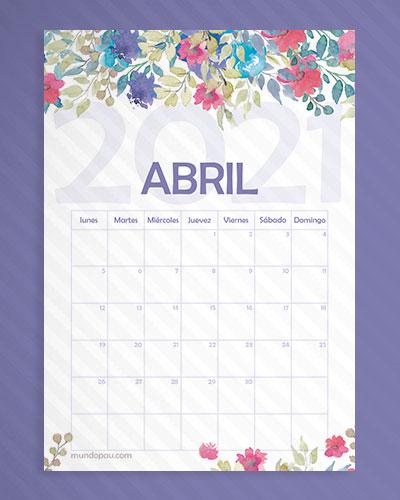 calendario abril de flores 2021
