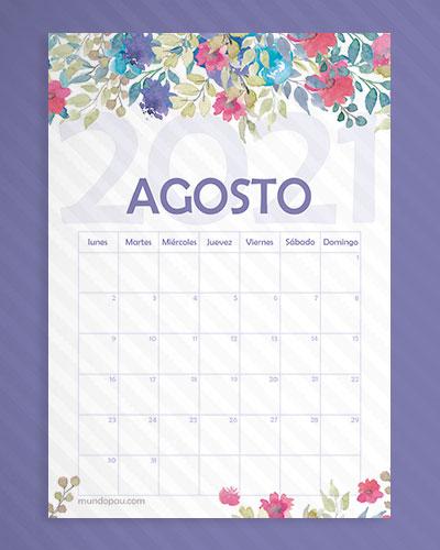 calendario agosto de flores 2021