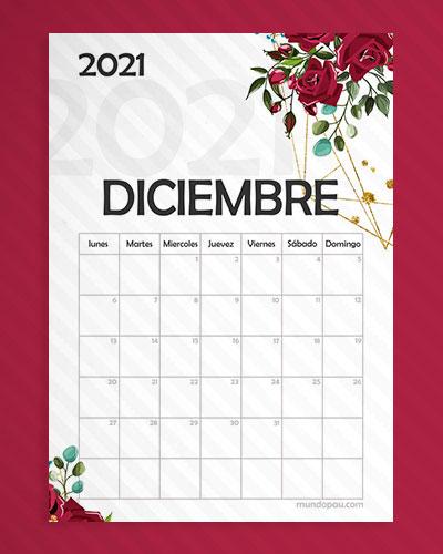 calendario diciembre para imprimir 2021