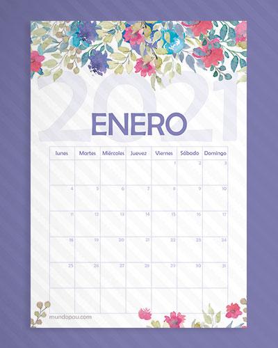 calendario enero de flores 2021