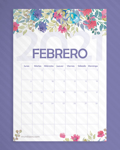 calendario febrero de flores 2021
