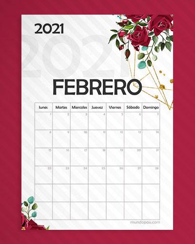 calendario febrero para imprimir 2021
