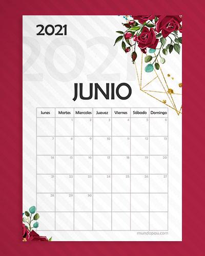 calendario junio para imprimir 2021