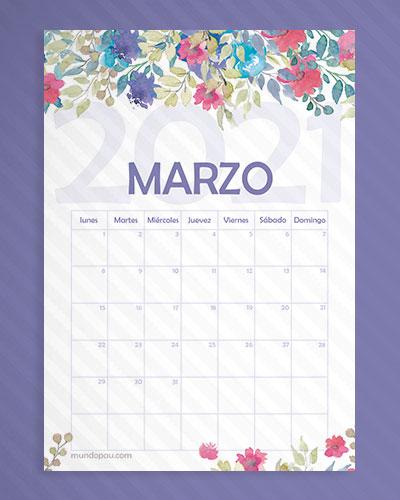 calendario marzo de flores 2021
