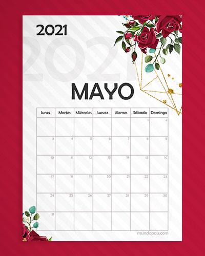 calendario mayo para imprimir 2021