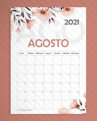 calendario agosto para imprimir 2021