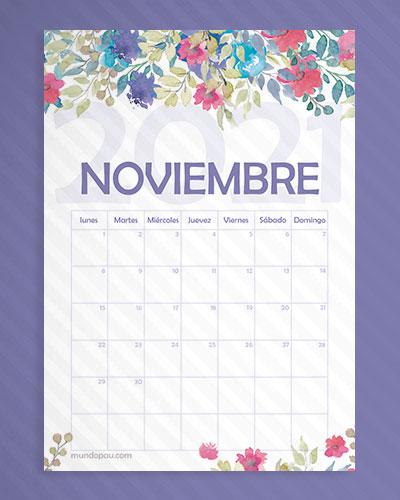calendario noviembre de flores 2021