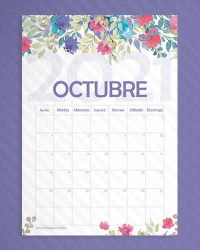 calendario octubre de flores 2021