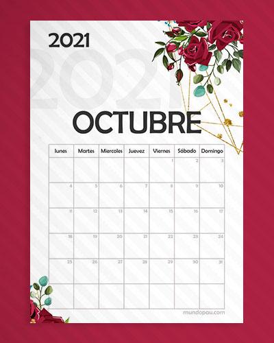 calendario octubre para imprimir 2021