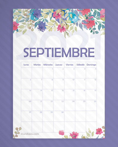 calendario septiembre de flores 2021