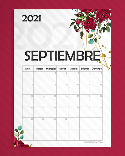 calendario septiembre para imprimir 2021