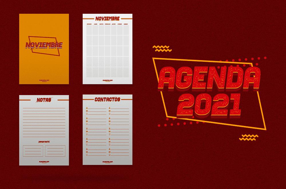 Secciones de noviembre de la agenda 2021