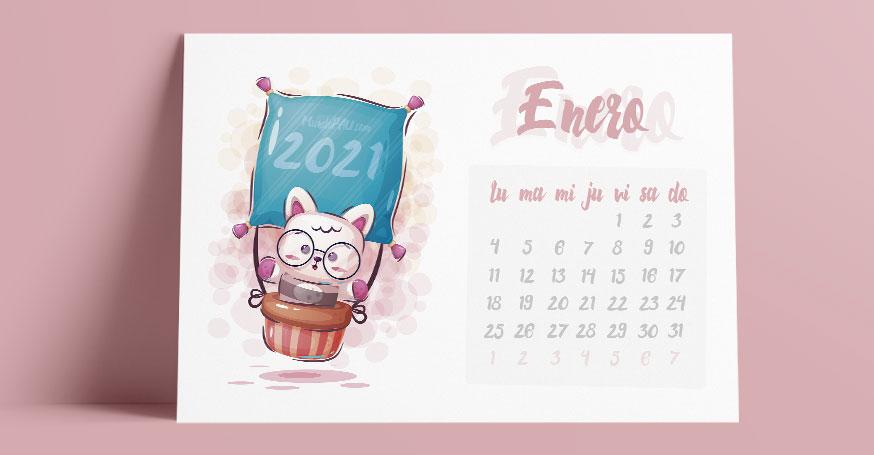 Calendario de enero para niños en horizontal