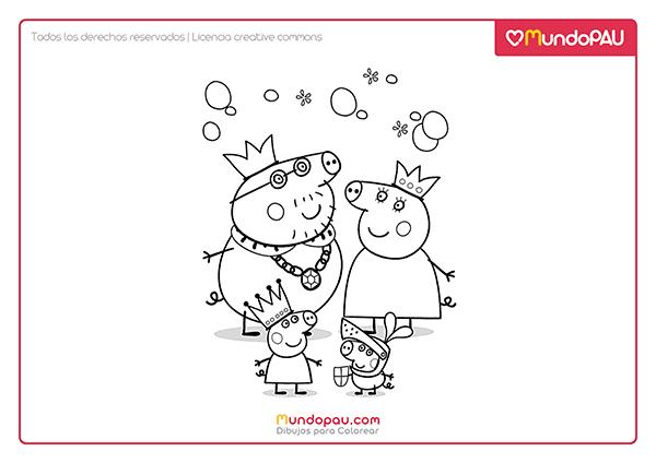dibujo de familia de peppa pig para colorear