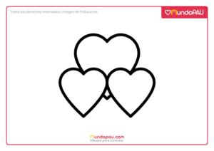 3 corazones juntos para pintar