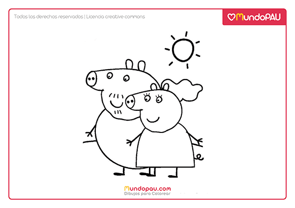 dibujo de mamá cerdita y papá cerdito de peppa pig para colorear