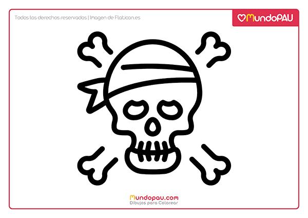 calavera pirata para colorear
