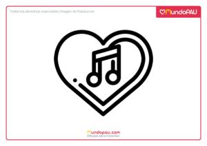 corazón con nota musical para colorear
